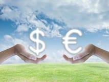 Handaustauschgeld stockfotos