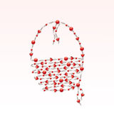 Handbag. With beads in form of heart stock illustration