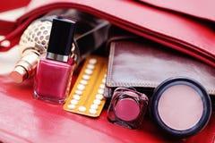 Handbag. Birth control pill in handbag - healthcare and medicine Royalty Free Stock Image