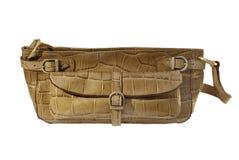 Handbag. Nice light brown envelope handbag isolated on a white background Royalty Free Stock Image