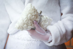Handbag in bride's hand Stock Photography