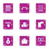 Handbag of cash icons set, grunge style. Handbag of cash icons set. Grunge set of 9 handbag of cash vector icons for web isolated on white background Royalty Free Stock Photography