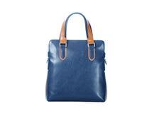 Handbag. Close-ups of blue handbag isolated on white royalty free stock photography