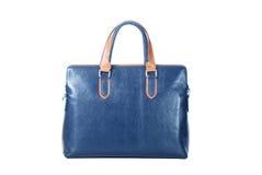 Handbag. Close-ups of blue handbag isolated on white royalty free stock images