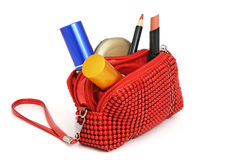 Handbag with cosmetics Stock Photos