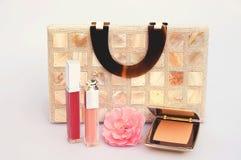 Handbag and cosmetics Royalty Free Stock Image