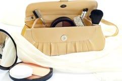 Handbag and cosmetics Royalty Free Stock Photo