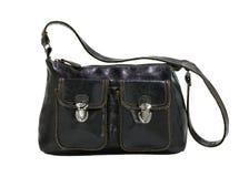 Handbag dark brown leather isolated on white stock photos