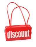 Handbag with discount sign Stock Photography