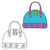 handbag Doodle tirado mão Versão preto e branco e colorida Imagem de Stock Royalty Free