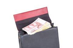 Handbag with Euro Money Banknotes Stock Photos