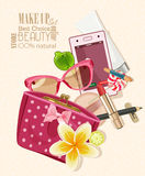 Handbag Filled With Objects Of His Care And Cosmetics. Make Up Kit Royalty Free Stock Images