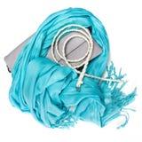 Handbag, fringe scarf and skinny braided belt Stock Image