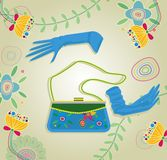 Handbag and gloves Royalty Free Stock Photo
