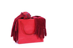 Handbag and gloves. Colorful bag with red gloves stock photos