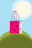 Handbag on green grass Royalty Free Stock Photography