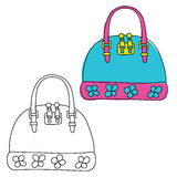 Handbag. Hand drawn doodle. Black and white and colored version. Vector illustration Royalty Free Stock Image