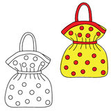 Handbag. Hand drawn doodle. Black and white and colored version Royalty Free Stock Images