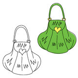 Handbag. Hand drawn doodle. Black and white and colored version Royalty Free Stock Image