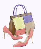 Handbag and high-heeled shoes. Royalty Free Stock Photography