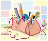 Handbag with makeup. Handbag filled with objects of his care and cosmetics. Objects do not cut to form bags, can be used separately Royalty Free Stock Photos