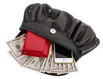 Handbag with mobile phone, wallet and money Royalty Free Stock Photos