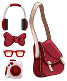 Handbag and other red objects. Illustration royalty free illustration