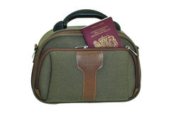 Handbag and passport Stock Photography