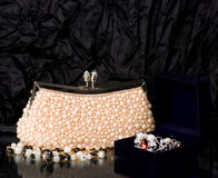 Handbag with pearl jewelry Stock Image