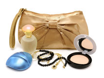 Handbag, perfume, powder, necklace Royalty Free Stock Photography