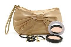 Handbag powder necklace isolated on white Stock Photo