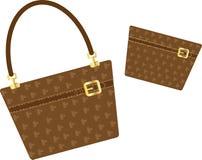 Handbag and purse. Ladies / womens handbag with matching clutch bag, make-up bag or purse, vector Royalty Free Stock Photo