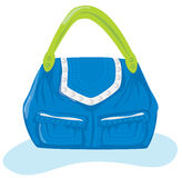 Handbag/purse. Blue handbag with green handles Royalty Free Stock Photos