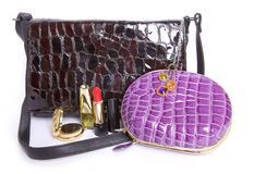 Handbag  and a purse And cosmetics subjects Stock Photo