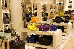 Handbag purse department store. Beautiful designer handbags for sale in a luxury department store Stock Images