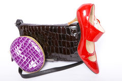 Handbag, purse and shoes Royalty Free Stock Images
