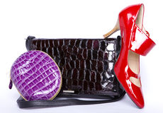 Handbag and a purse and a   shoes Stock Photography