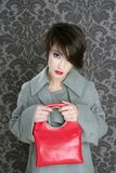 Handbag red retro woman vintage fashion Stock Photos