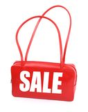Handbag with red sale sign Stock Photo