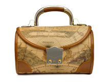 Handbag with retro world map Royalty Free Stock Photos
