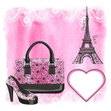 Handbag,shoe,Eiffel Tower,Paisley,Watercolor splash Royalty Free Stock Images