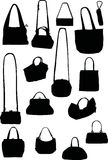 Handbag silhouettes. Illustration with handbag silhouettes isolated on white background royalty free illustration