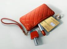 Handbag. Small Handbag with Checkcard and Lipstick Stock Photo