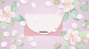 Handbag vector illustration background. Fashion accessories collection. Handbag with rose flower petals. Spring style background. White and pink soft color Royalty Free Stock Photo