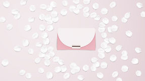 Handbag vector illustration background. Fashion accessories collection. Handbag with rose flower petals. Spring style background. White and pink soft color Stock Image