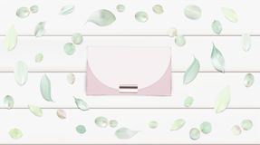 Handbag vector illustration background. Fashion accessories collection. Handbag with rose flower petals. Spring style background. White and pink soft color Stock Photos