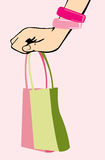 Handbag in woman arm Royalty Free Stock Photo
