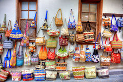 Handbags display. Colourful handbags shopping in old Eastern town Royalty Free Stock Photography