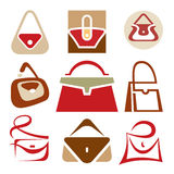 Handbags Logo Signs. 9 handbags vector signs for the development of your design and promotional products Stock Photography