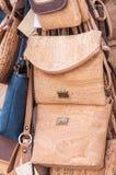Handbags made of cork royalty free stock photography